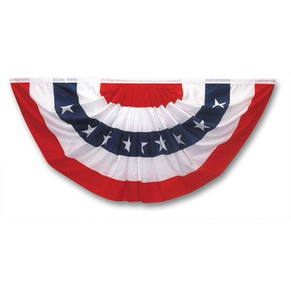 Pleated Mini Patriotic Fan 2-Sided Polyester Blend 1.5 x 3 ft. Bunting by Valley Forge Flag