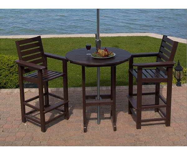 Captain 3 Piece Bar Height Dining Set by POLYWOOD®