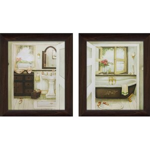 Sink & Bathtub 2 Piece Framed Painting Print on Canvas Set by Picture Perfect International