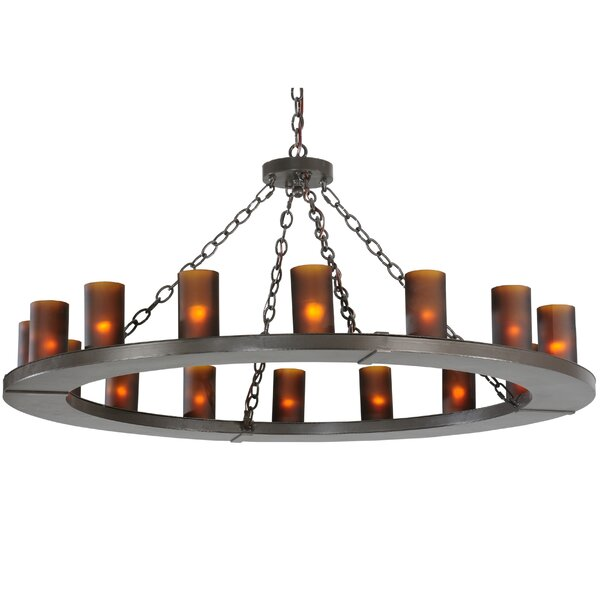 16 - Light Shaded Wagon Wheel Chandelier By Meyda Tiffany