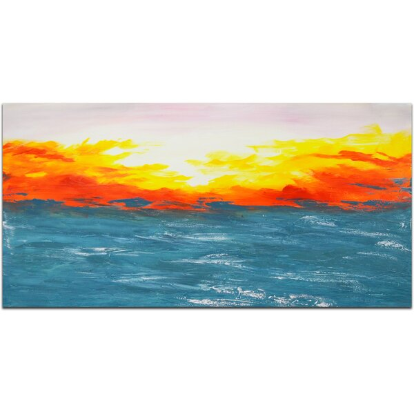 Shimmering Sunrise Painting on Canvas by Omax Decor