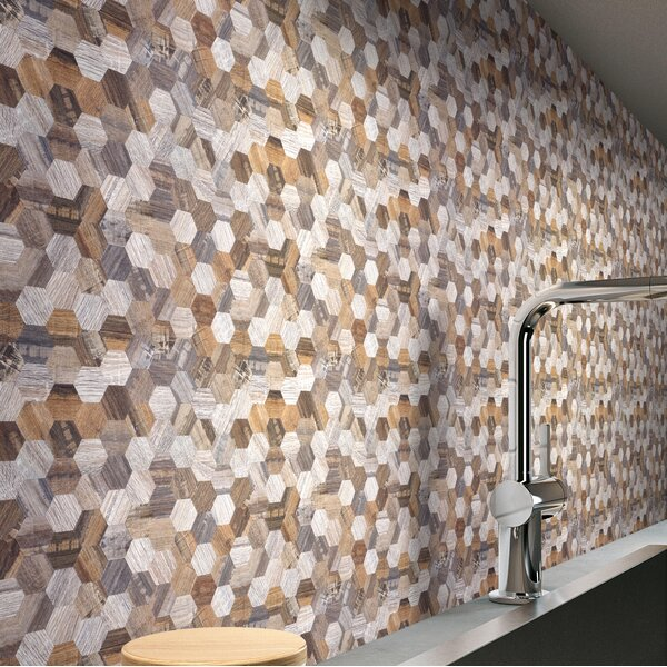Modern Wood Hexagon 1.26 x 1.26 PVC/Metal Peel & Stick Mosaic Tile by versaTILE