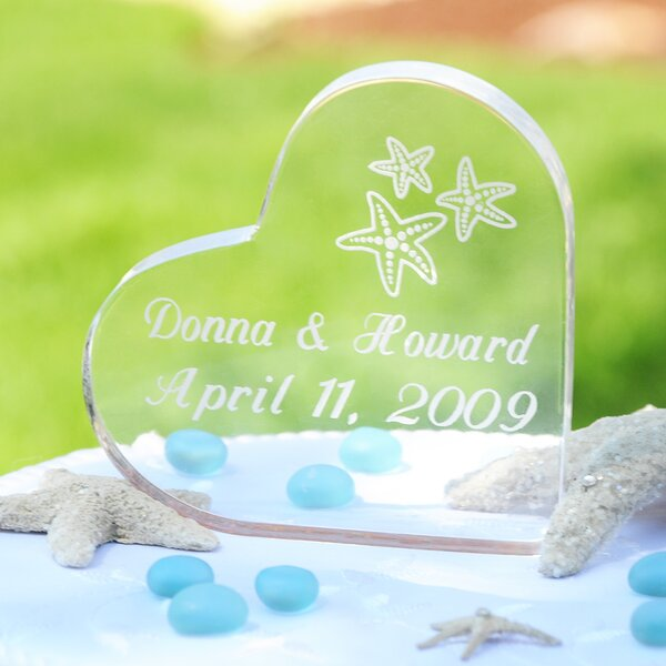Beach Wedding Acrylic Heart Cake Topper by Cathys Concepts