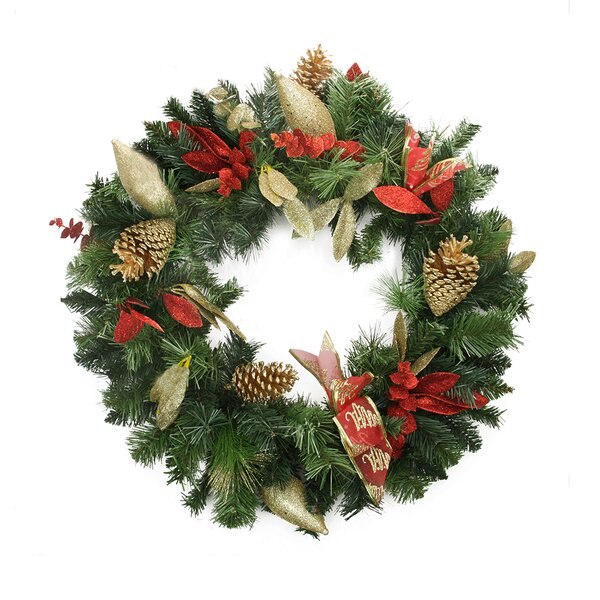 Pre-Decorated Pine Cone, Eucalyptus and Bow Artificial Christmas Wreath by Northlight Seasonal