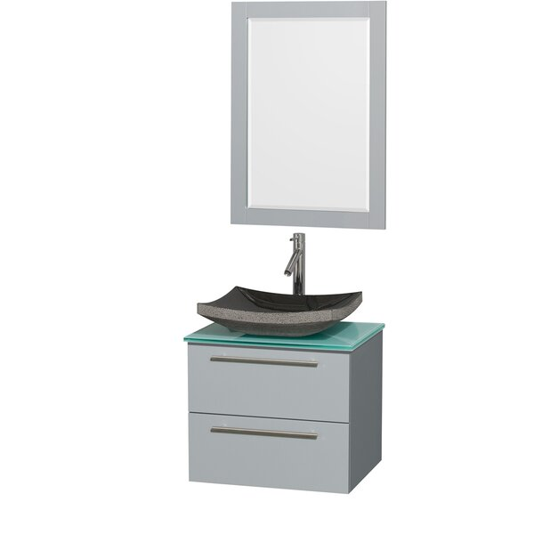 Amare 24 Single Dove Gray Bathroom Vanity Set with Mirror by Wyndham CollectionAmare 24 Single Dove Gray Bathroom Vanity Set with Mirror by Wyndham Collection