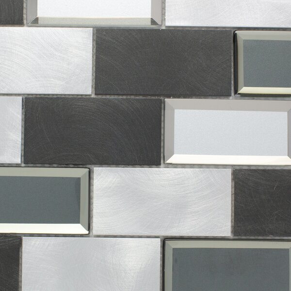 2 x 4 Metal Mosaic Tile in Silver/Gray by Multile