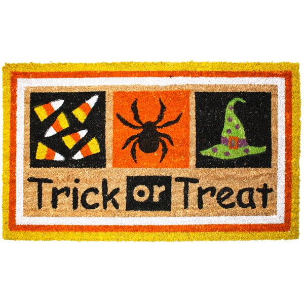 Halloween Trick or Treat Doormat by J and M Home F