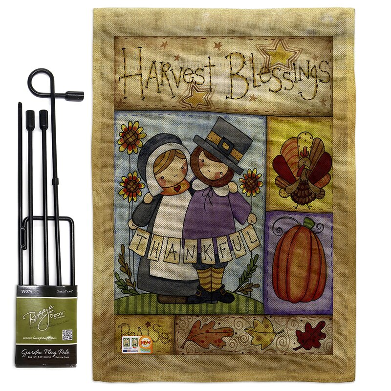 Breeze Decor Thankful Pilgrims Fall Thanksgiving Impressions 2 Sided Polyester 19 X 13 In Flag Set Wayfair