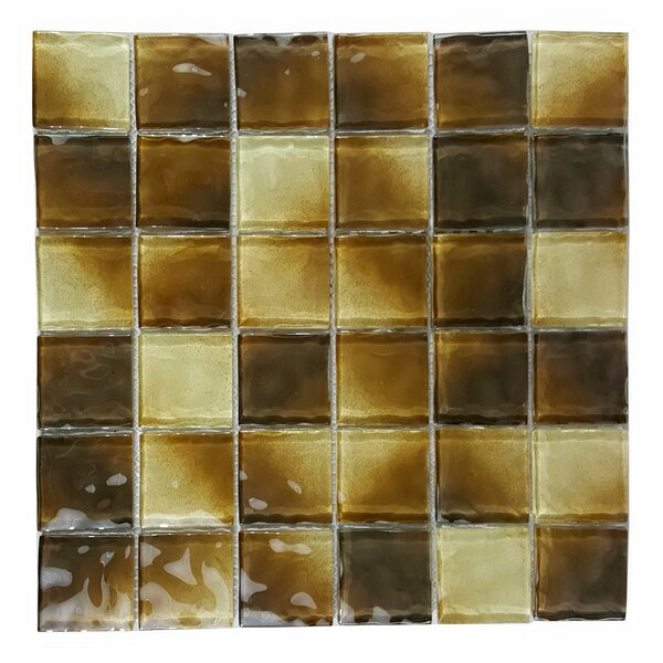 Watermarks 2 x 2 Glass Mosaic Tile in Beige by Abolos