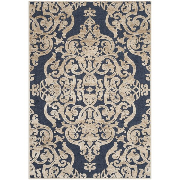 Platz Stone / Navy Contemporary Area Rug by Charlton Home