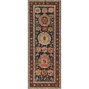 Antique One-of-a-Kind Shirvan Hand-Woven Obsidian Area Rug