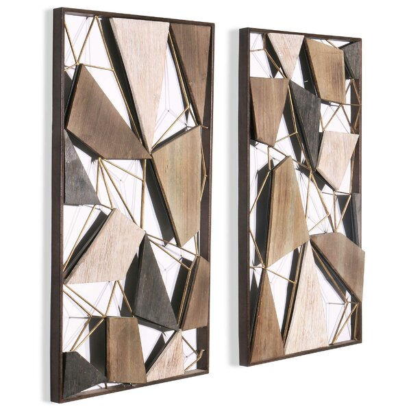 2 Piece Geometric Wood and Metal Wall Decor Set by