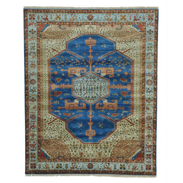 One-of-a-Kind Griego Vintage Overdyed Hand-Knotted Denim Blue Area Rug by Bloomsbury Market