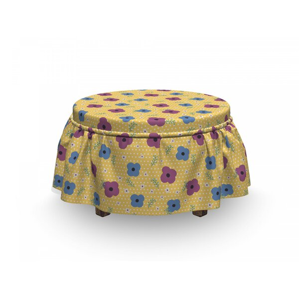 Blooming Doodle Petals Ottoman Slipcover (Set Of 2) By East Urban Home