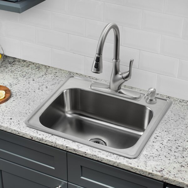 25 L x 22 W Single Bowl Drop-In Stainless Steel Kitchen Sink with Faucet by Soleil