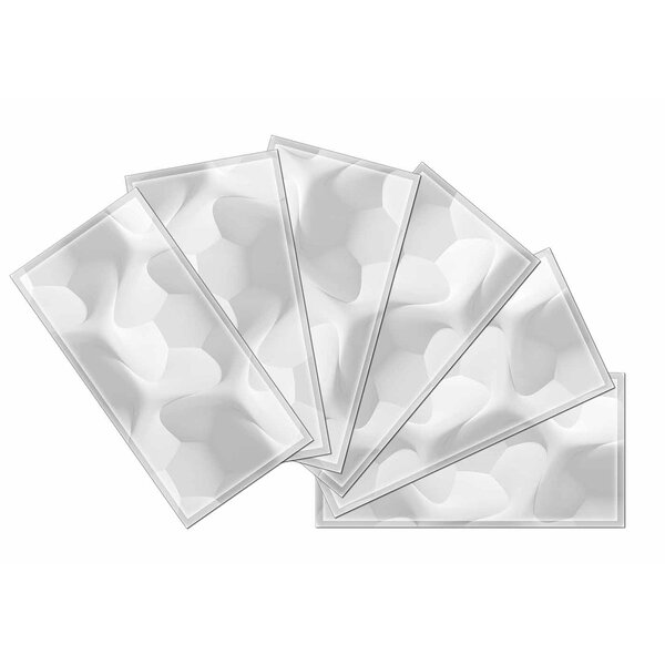 Crystal 3 x 6 Beveled Glass Subway Tile in Off White/Gray by Upscale Designs by EMA