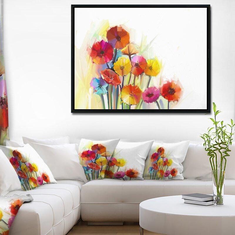 East Urban Home \'Colorful Gerbera Flower\' Framed Watercolor Painting ...