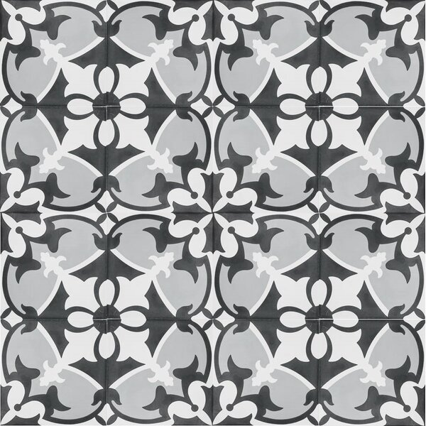 MeaLu 8 x 8 Cement Patterned Tile in Black/Gray/White (Set of 4) by Rustico Tile & Stone