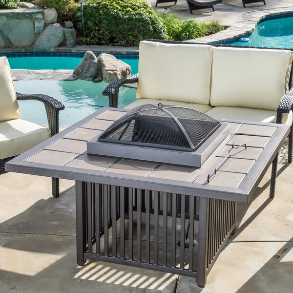 Cicero Aluminum/Steel Wood Burning Fire Pit table by Home Loft Concepts