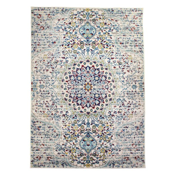 Benoit Timeless Distressed Ivory/Blue Area Rug by Bungalow Rose