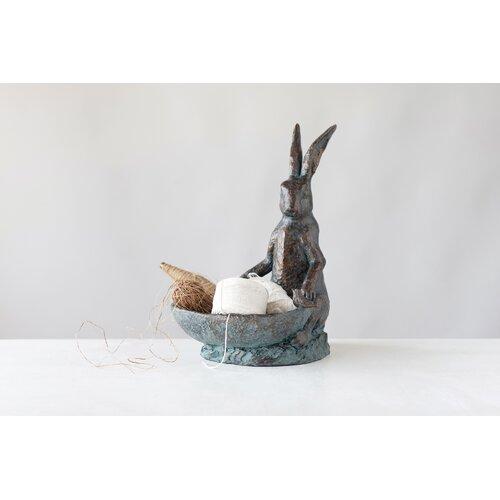Decorative Rabbit Birdbath Creative Co-Op