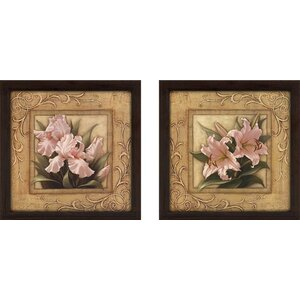 Pretty in Pink Lilies' 2 Piece Framed Graphic Art Print Set Under Glass by Ophelia & Co.