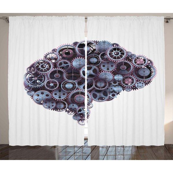 Mechanic Wheel Brain Graphic Print Room Darkening Rod Pocket Curtain Panels (Set of 2) by East Urban Home