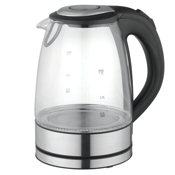 1.8-qt. Glass and Stainless Steel Electric Tea Kettle by Mega Chef