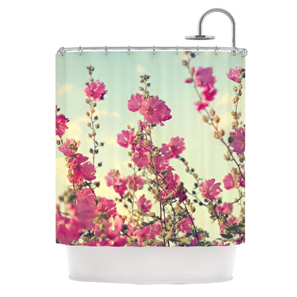 Pink Lavatera Shower Curtain by East Urban Home