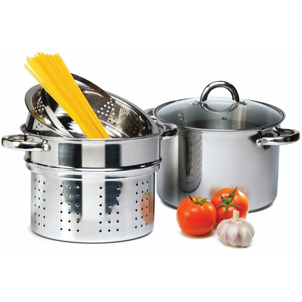 4 Piece 8 Qt. Pasta Cooker Set with Lid by Imperial Home