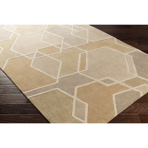 Vaughan Hand-Tufted Green/Brown Area Rug by Wrought Studio