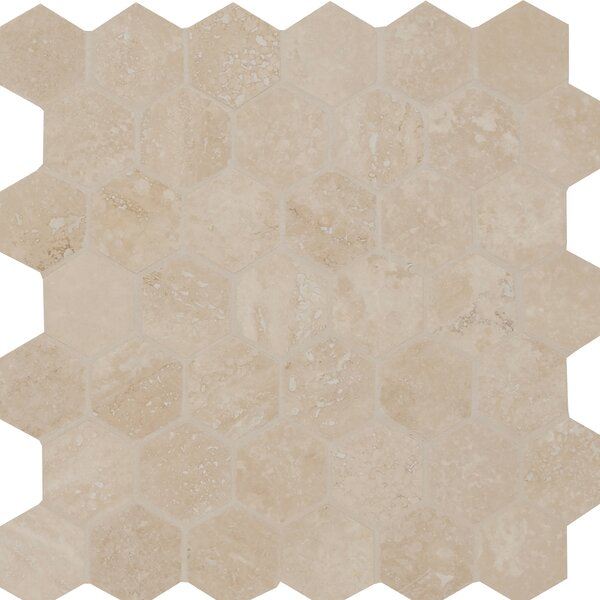 Hexagon Honed and Filled 2 x 2 Travertine Mosaic Tile in Cream by MSI