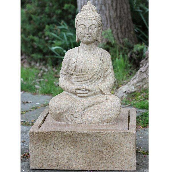 Polystone Praying Buddha Outdoor Water Fountain with Light by Northlight Seasonal