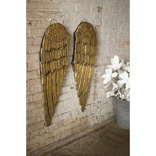 Merveilleux 2 Piece Painted Wooden Angel Wing Wall Décor Set