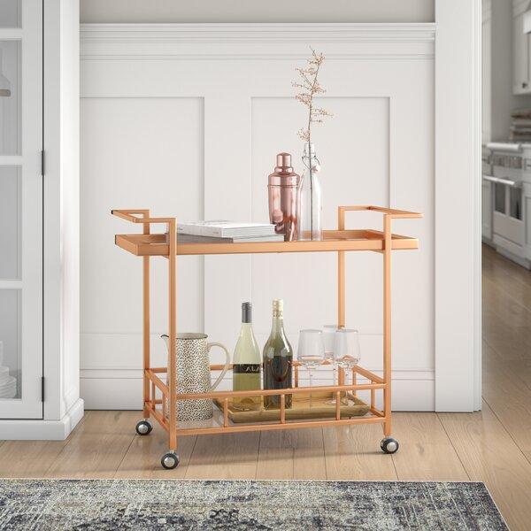 Emrich Industrial Iron/Glass Bar Cart by Orren Ellis