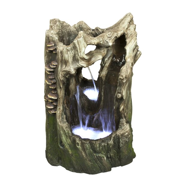 Rainforest Polystone/Fiberglass Cascading Tree Trunk Tabletop Fountain with LED Light by Alpine