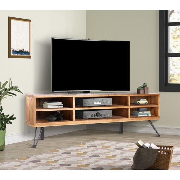 Review Antonetta Solid Wood Corner TV Stand For TVs Up To 42