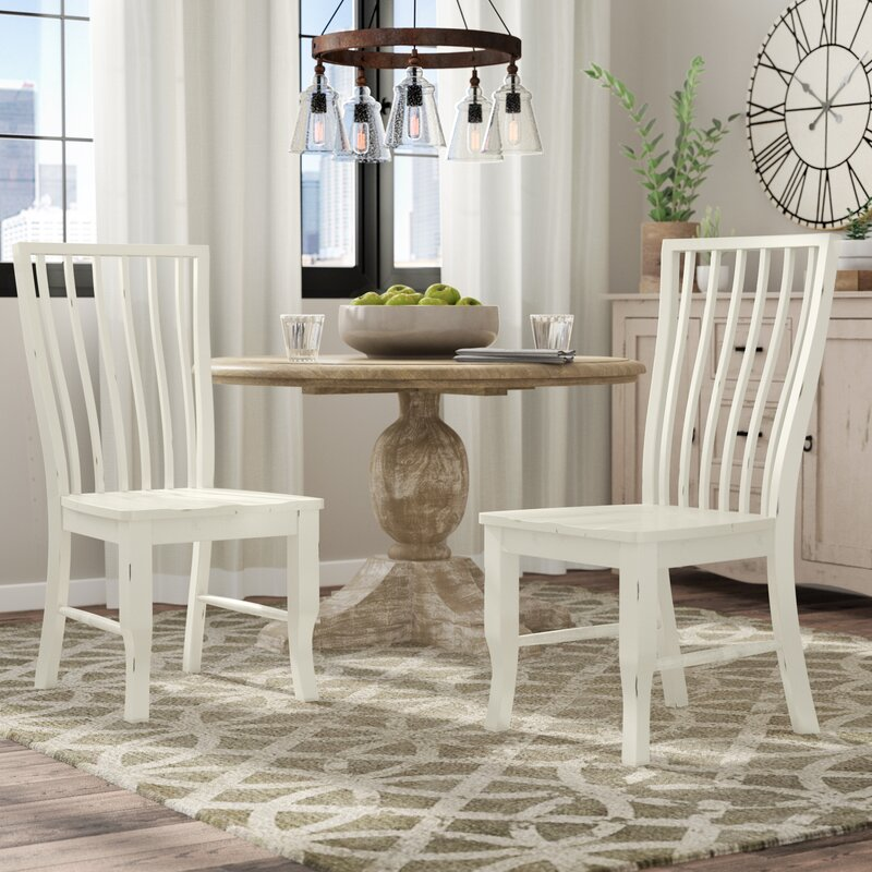 August Grove Fleeton Solid Wood Dining Chair In White Reviews Wayfair