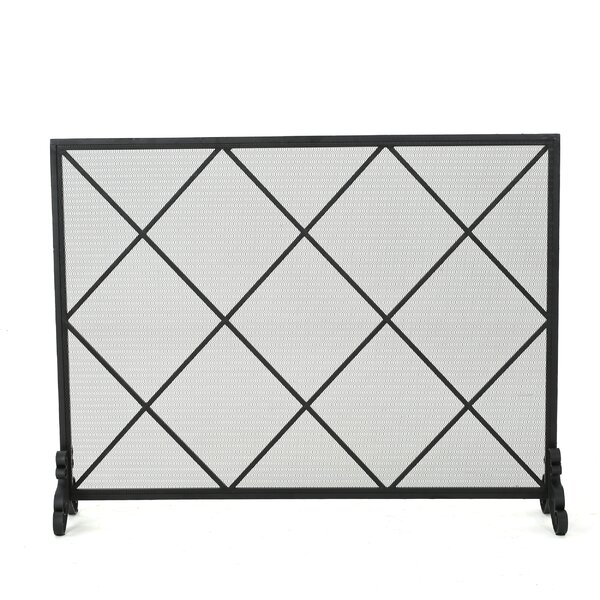 Tepper Single Panel Iron Fireplace Screen by Fleur De Lis Living