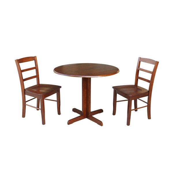 Ingrassia Dual Drop Leaf 3 Piece Solid Wood Dining Set by Charlton Home