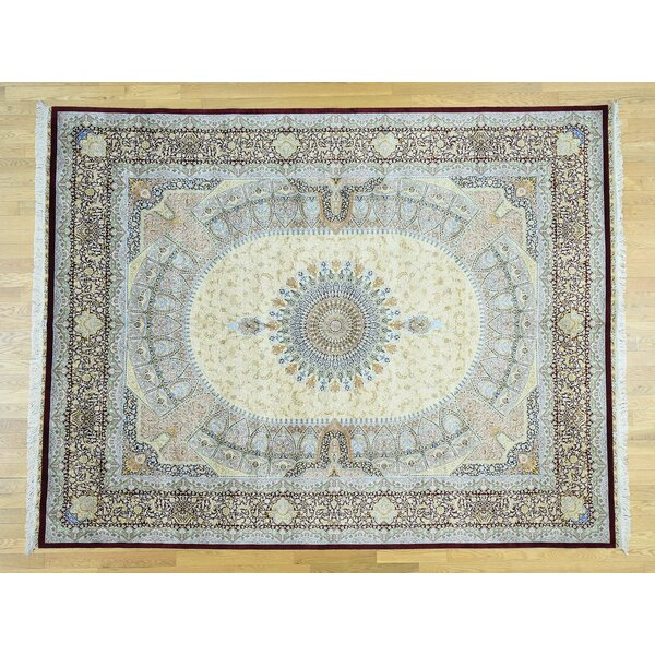One-of-a-Kind Bradman Gombad Design Handwoven Beige Silk Area Rug by Isabelline