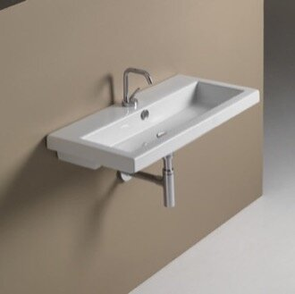 40 Ceramic 32 Wall Mount Bathroom Sink with Overflow by Ceramica Tecla by Nameeks