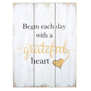 Grateful Heart Textual Art on Wood by CB Gift
