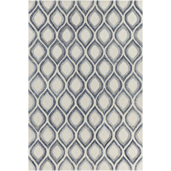 Delong Patterned Contemporary White Area Rug by Brayden Studio