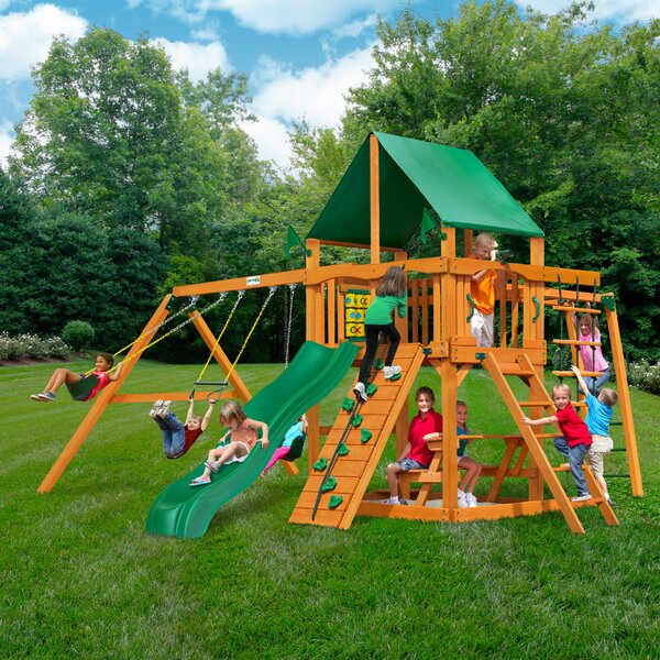 Navigator with Amber Posts and Canopy Cedar Swing Set by Gorilla Playsets