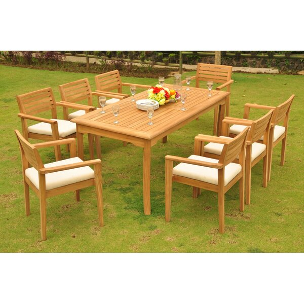 Lori 9 Piece Teak Dining Set by Rosecliff Heights