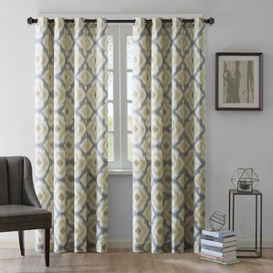 Ankara Ikat Semi Sheer Grommet Single Curtain Panel