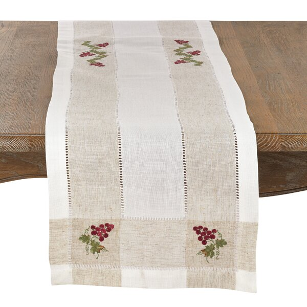Earby Embroidered Grape Table Runner by Fleur De Lis Living