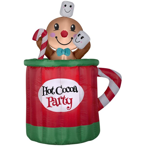 Hot Cocoa Mug and Gingerbread Christmas Oversized Figurine by The Holiday Aisle