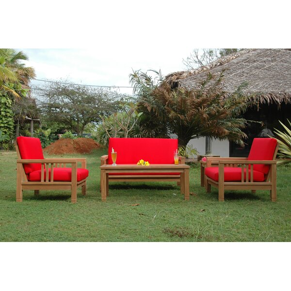 South Bay 5 Piece Teak Sofa Seating Group with Sunbrella Cushions by Anderson Teak Anderson Teak